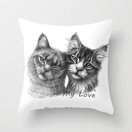 Cats in Love G134 Throw Pillow
