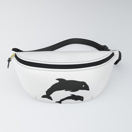 dolphins black and white sketch Fanny Pack