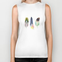feathers Biker Tanks featuring feathers  by mark ashkenazi
