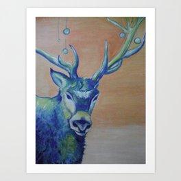 Blue Reindeer by Amit Grubstein  Art Print