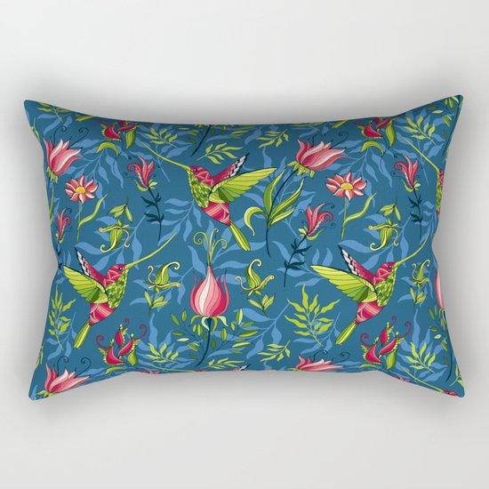 Hummingbirds and flowers. Blue pattern Rectangular Pillow