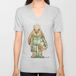 bunny astronaut Unisex V-Neck