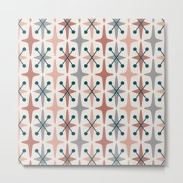 Mid Century Modern Abstract Star Pattern 223 Teal Brown Dusty Rose and Gray Metal Print