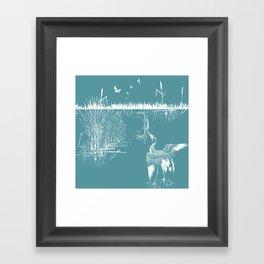 Orienal Exotic Heron & Birds on a Lake Print - Blue Framed Art Print