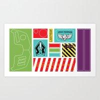 buzz lightyear Art Prints featuring TOY STORY : BUZZ LIGHTYEAR STICKERS KIT by DrakenStuff+