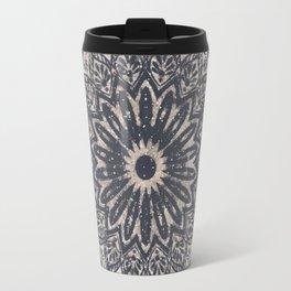 Mandala Geometric Grey and Navy Blue Travel Mug