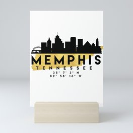 MEMPHIS TENNESSEE SILHOUETTE SKYLINE MAP ART Mini Art Print