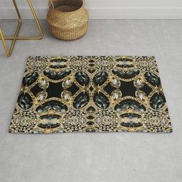 art deco jewelry bohemian champagne gold black rhinestone Rug