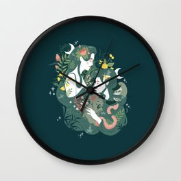 Flora and Fauna Moon phases goddess Wall Clock