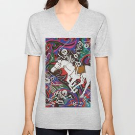 Conquistador - Skeleton on White Horse Unisex V-Neck