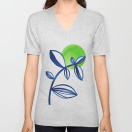 Blue and lime green minimalist leaves Unisex V-Neck