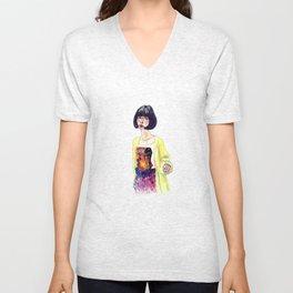 Fashion Illustration . Oriental Girl Unisex V-Neck