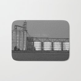 Black & White Grain Silos Pencil Drawing Photo Badematte