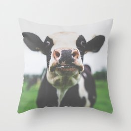 Funny Cow Photography print Throw Pillow