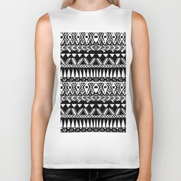 Black and White Hand Drawn Modern Tribal Aztec Biker Tank
