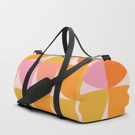 Mid Century Mod Geometry in Pink and Orange Duffle Bag