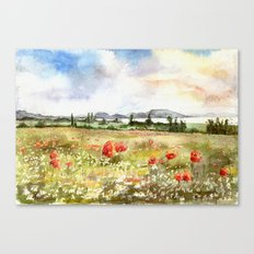 Poppies at the Lake Balaton Canvas Print