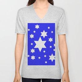 WHITE STARS ON BLUE DESIGN ART Unisex V-Neck