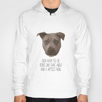 pit bull Hoodies featuring Pit Bull Print by Roxy Makes Things