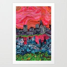 """Saucy Cityscape 1"" by Jordan Halstead Art Print"