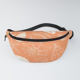 Seashells and Starfish Pattern in Orange Creamsicle Fanny Pack