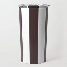 Dark puce purple - solid color - white vertical lines pattern Travel Mug