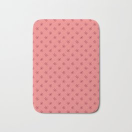 Burgundy Red on Coral Pink Snowflakes Bath Mat