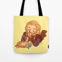 fili Tote Bags featuring Fili and Kitten by Hattie Hedgehog