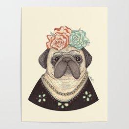 Frida Pug Kahlo Poster