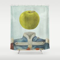 magritte Shower Curtains featuring Sgt. Apple  by Terry Fan
