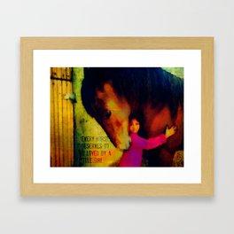 Little girl and horse Framed Art Print