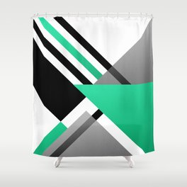 Sophisticated Ambiance - Silver & Greenish Blue Shower Curtain
