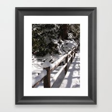 Snowy bridge Framed Art Print