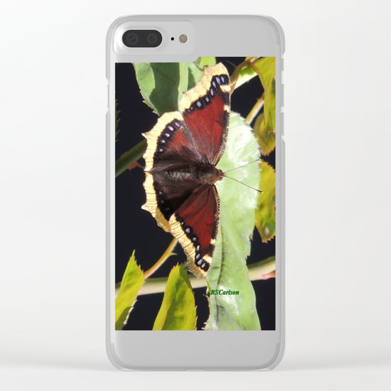 Mourning Cloak Butterfly at Rest on a Rose Leaf Clear iPhone Case