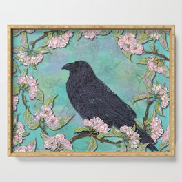 Raven and Apple Blossom Serving Tray