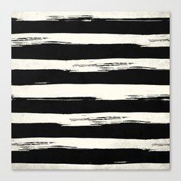 Trendy Black + Cream Stripes Canvas Print