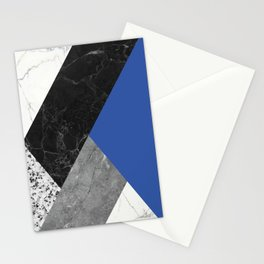 Black and White Marbles and Pantone Lapis Blue Color Stationery Cards