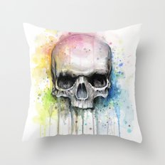 Skull Rainbow Watercolor Painting Skulls Throw Pillow