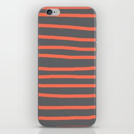 Simply Drawn Stripes Deep Coral on Storm Gray iPhone Skin