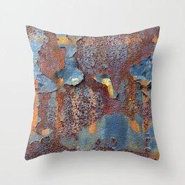 Colors of Rust, ROSTart blue Throw Pillow