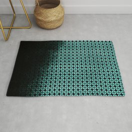 Textured teal and black Shippo ombre - traditional Japanese pattern Rug