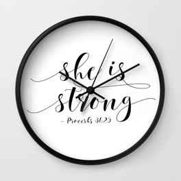 SHE IS STRONG, Proverbs 31 : 25,Nursery Girls,Gift For Her,Women Gift,Feminism Gift,Bedroom Decor Wall Clock