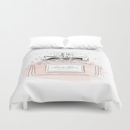 Perfume bottle with bow Duvet Cover