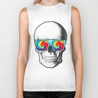 psychadelic Biker Tanks featuring Psychadelic Skull Tiedye glasses by Chara Chara