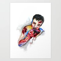 zombie Art Prints featuring Zombie by Camille Ratté