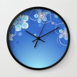 Blue background with silver flowers Wall Clock