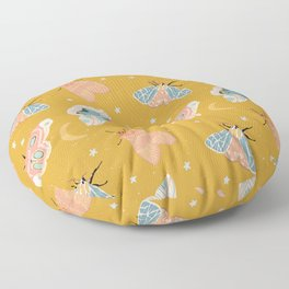 Moth & Moon Pattern - Gold Floor Pillow