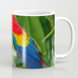 Two Splendid Spectacular Colorful Ara Parrots Flirting Close Up Ultra HD Coffee Mug