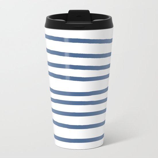 Simply Drawn Stripes in Aegean Blue and White Metal Travel Mug