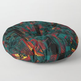 Night city glow cartoon Floor Pillow